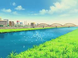 anime landscape river background scenery